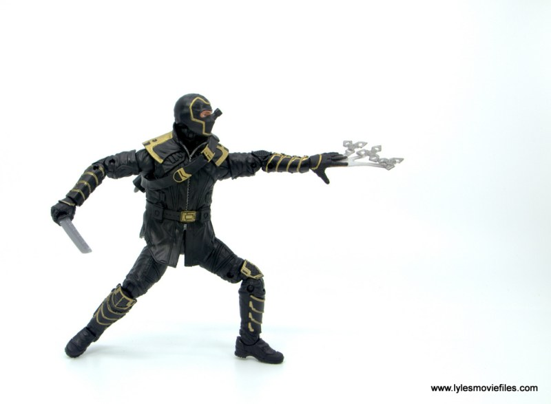 Marvel Legends Ronin figure review - side throwing stars