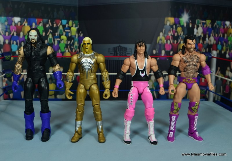 WWE Goldust figure review - side by side with undertaker, bret hart and razor ramon