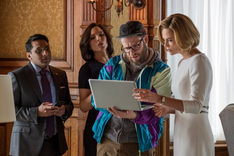 long shot review - ravi patel, june diane raphael, seth rogen and charlize theron