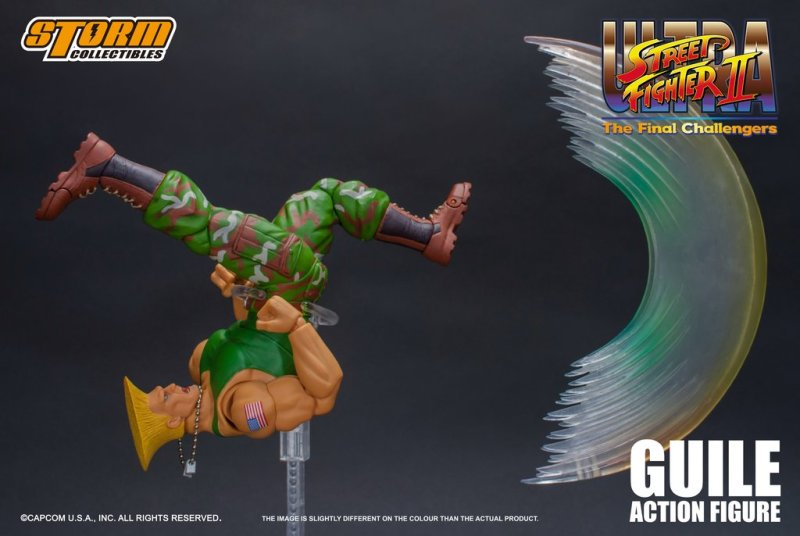 storm collectibles street fighter ii guile figure - sonic boom kick