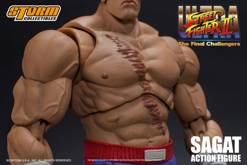 storm collectibles street fighter ii sagat figure - chest detail