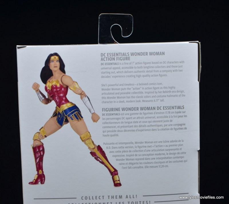 DC Essentials Wonder Woman figure review - package bio