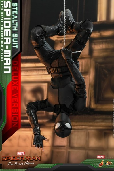 Hot Toys Spider-Man Stealth Suit Figure - hanging upside down