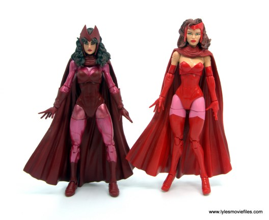 Marvel Legends Magneto, Quicksilver and Scarlet Witch figure review - scarlet witch side by side with odinfather scarlet witch