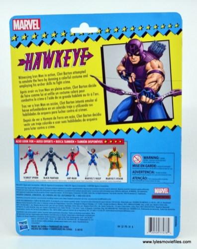 Marvel Legends Retro Hawkeye figure review - package rear