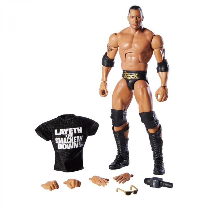 wwe elite 69 the rock wal-mart exclusive - accessories