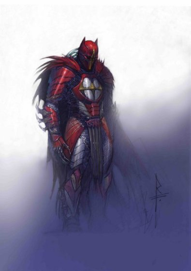 Azrael concept frontal full figure color study Federici