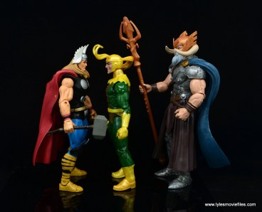 Marvel Legends Loki figure review - facing thor and odin