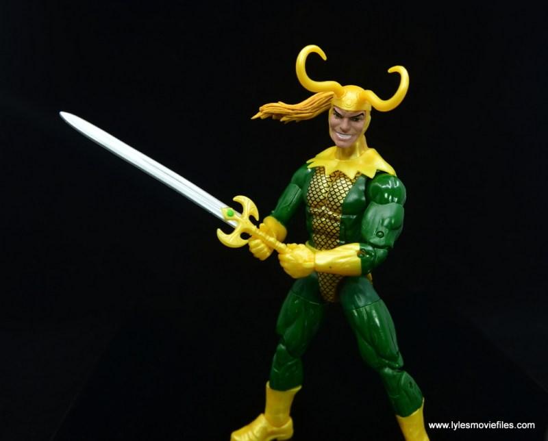 Marvel Legends Loki figure review - holding sword
