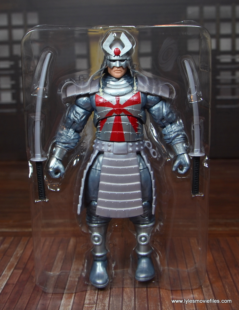 Marvel Legends Silver Samurai figure review - accessories in tray