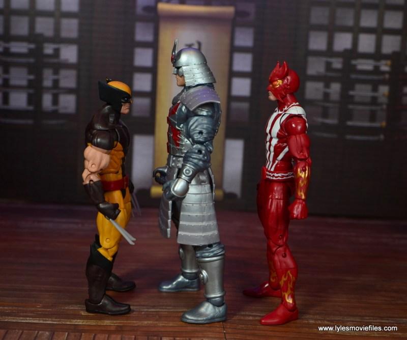 Marvel Legends Silver Samurai figure review - facing wolverine and sunfire