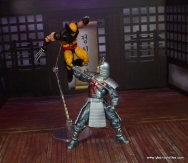 Marvel Legends Silver Samurai figure review - leaping wolverine