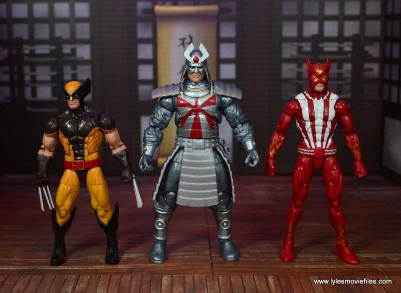 Marvel Legends Silver Samurai figure review - scale with wolverine and sunfire