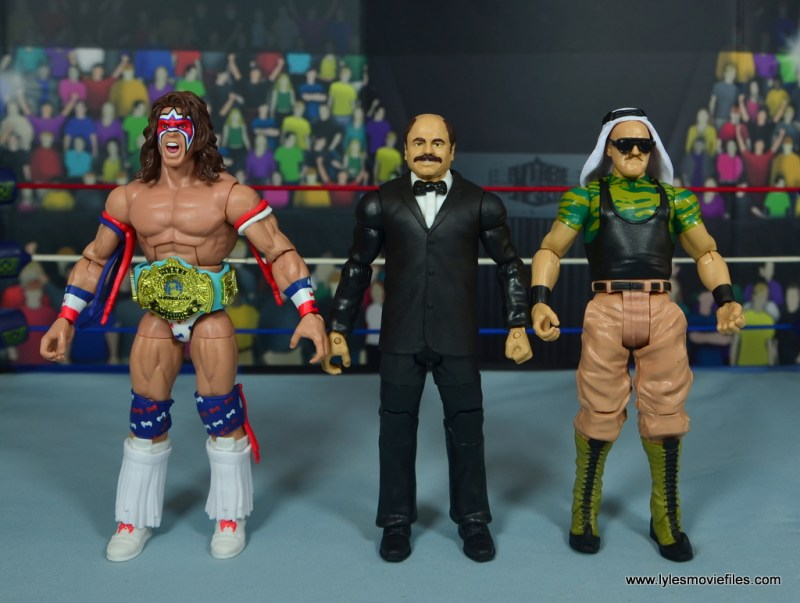 WWE Howard Finkel The Fink figure review - with ultimate warrior and sgt. slaughter