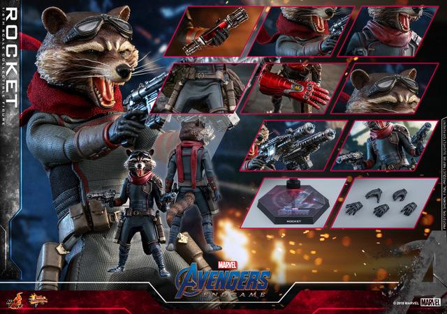 hot toys avengers endgame rocket figure - collage
