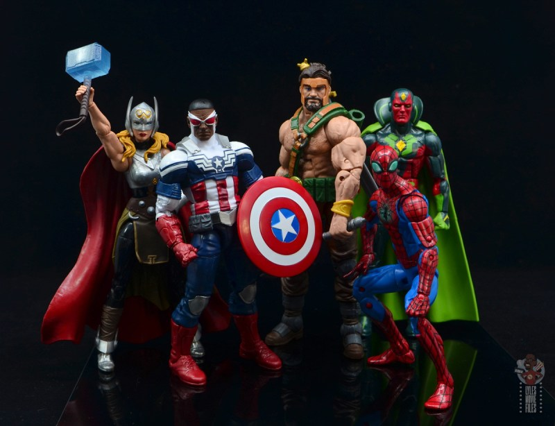 marvel legends hercules figure review - with jane thor, captain falcon, spider-man and vision