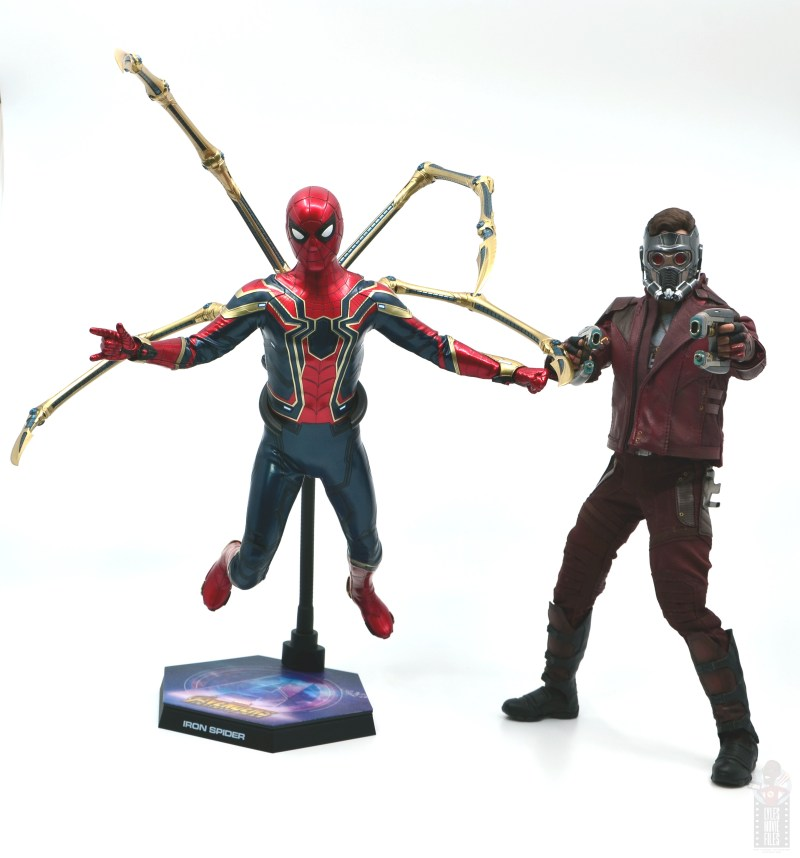 hot toys avengers infinity war iron spider figure review - into action with star-lord