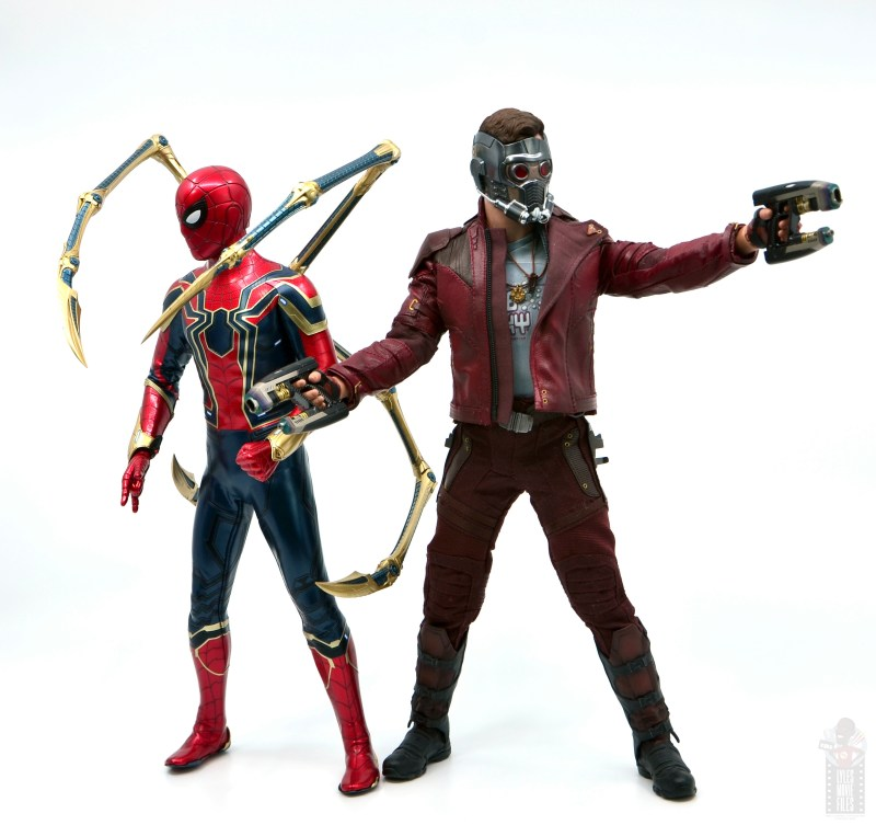 hot toys avengers infinity war iron spider figure review - with star-lord