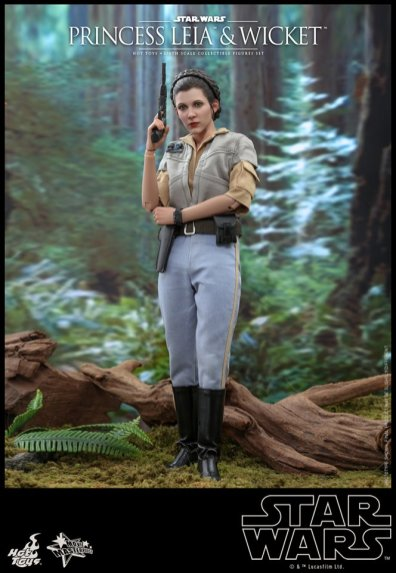 hot toys return of the jedi princess leia and wicket figures - leia in planning outfit
