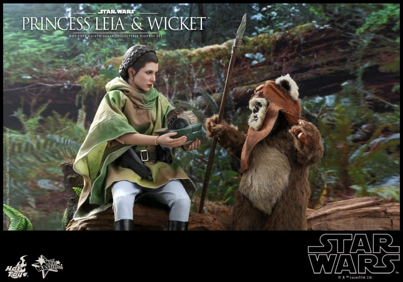 hot toys return of the jedi princess leia and wicket figures - leia showing wicket her helmet