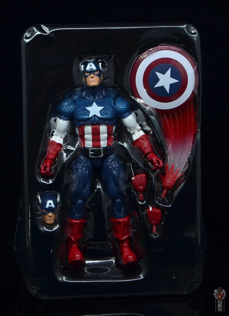 marvel legends captain america figure review 80th anniversary -figure in tray