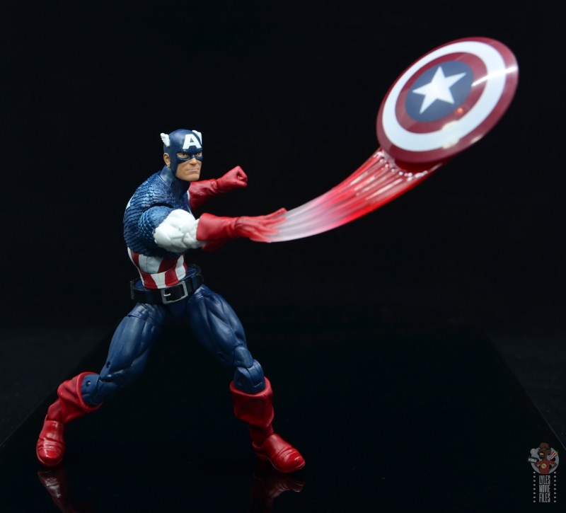 marvel legends captain america figure review 80th anniversary - shield throwing effect