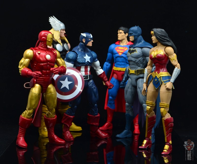 marvel legends captain america figure review 80th anniversary -with iron man and thor facing superman, batman and wonder woman