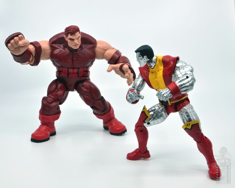 marvel legends colossus and juggernaut figure review 80th anniversary - colossus vs unhelmeted juggernaut