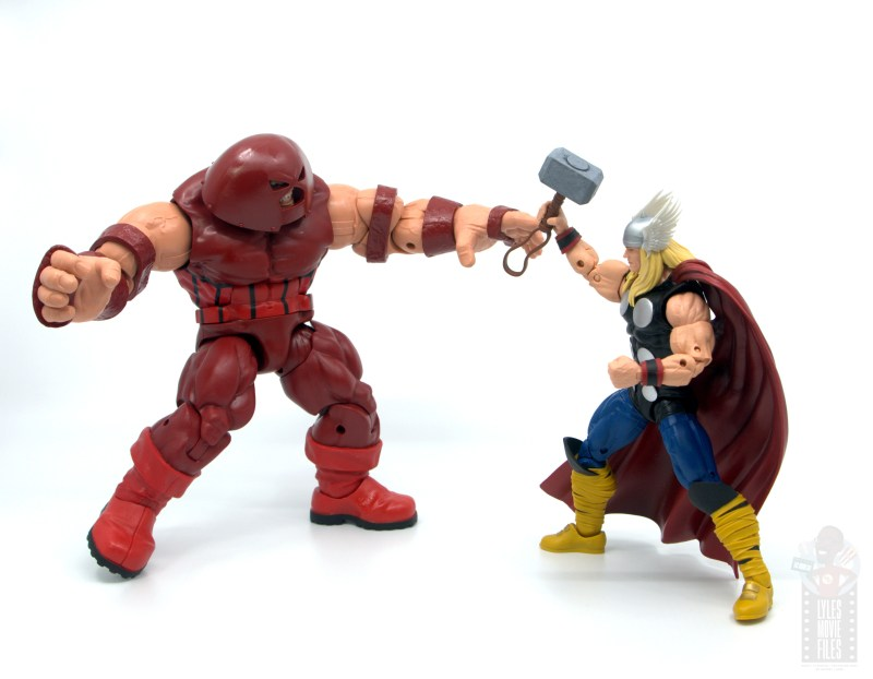 marvel legends colossus and juggernaut figure review 80th anniversary - juggernaut vs thor