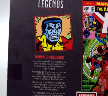 marvel legends colossus and juggernaut figure review 80th anniversary - package colossus bio
