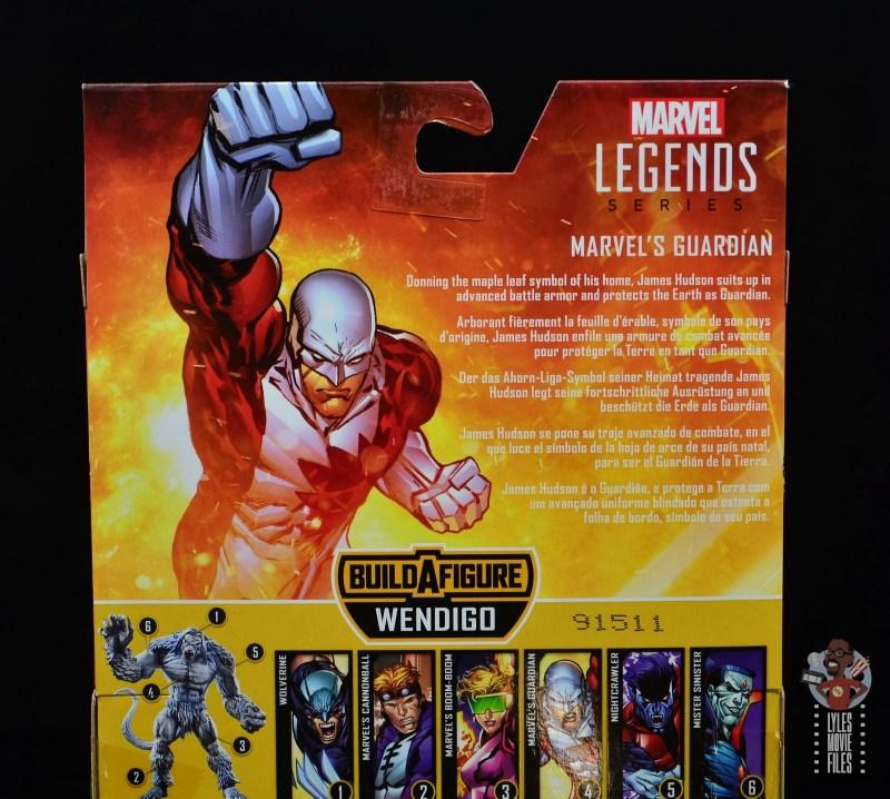 marvel legends guardian figure review - package bio