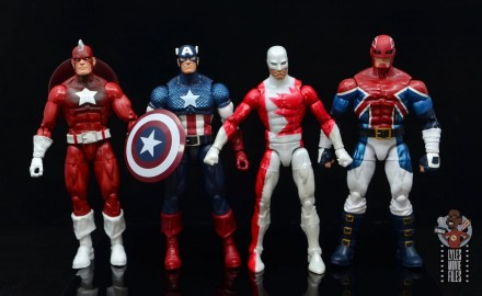 marvel legends guardian figure review - scale with red guardian, captain america and captain britain