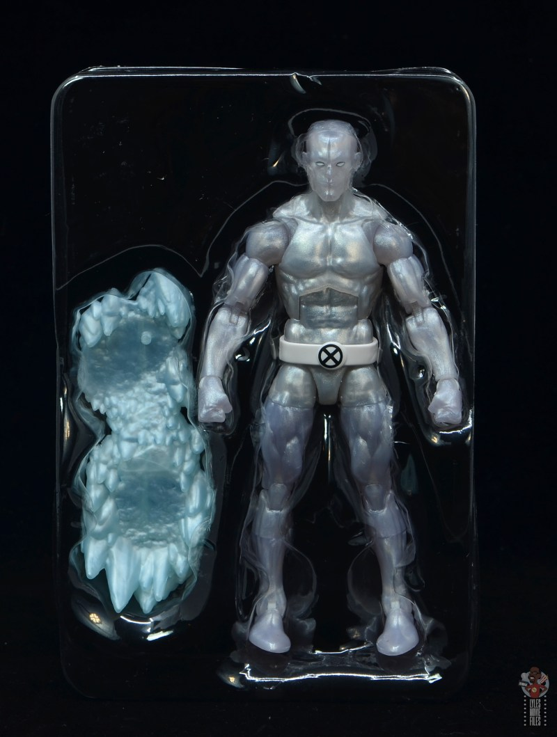 marvel legends iceman figure review - accessories in tray