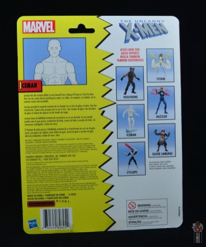 marvel legends iceman figure review -package rear