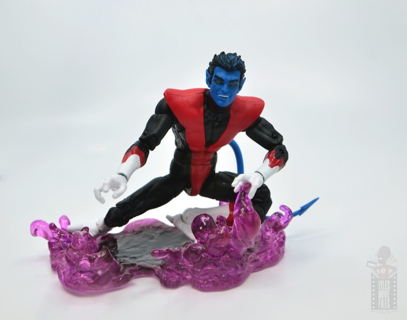 marvel legends nightcrawler figure review - smiling on the teleporting base