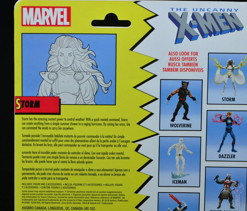 marvel legends storm figure review - package bio