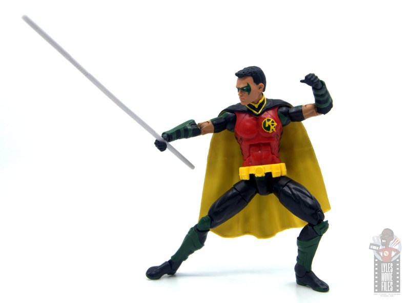 dc multiverse red robin figure review -attacking with staff
