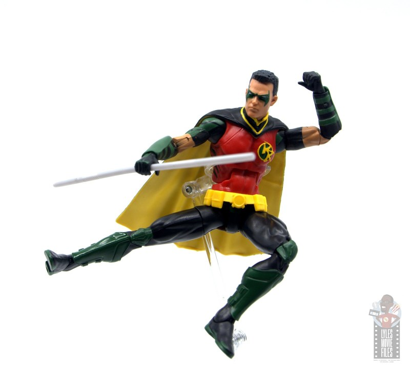 dc multiverse red robin figure review -leaping kick