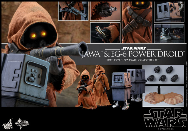 hot toys star wars Jawa and EG-6 Power Droid Collectible figure set - collage