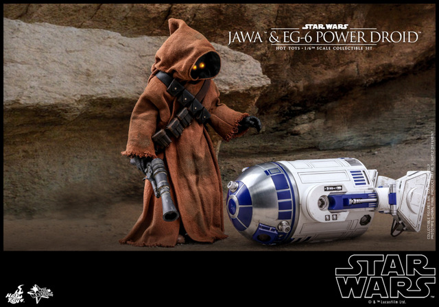 hot toys star wars Jawa and EG-6 Power Droid Collectible figure set - jawa with knocked out r2-d2