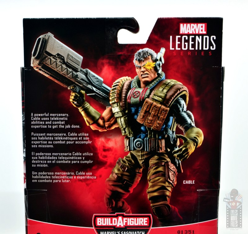 marvel legends cable figure review -package bio
