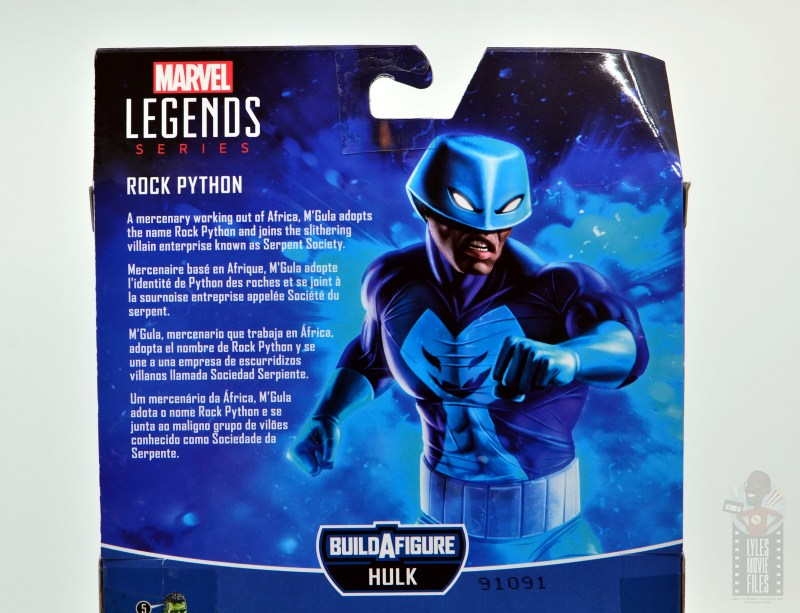 marvel legends rock python figure review - package bio