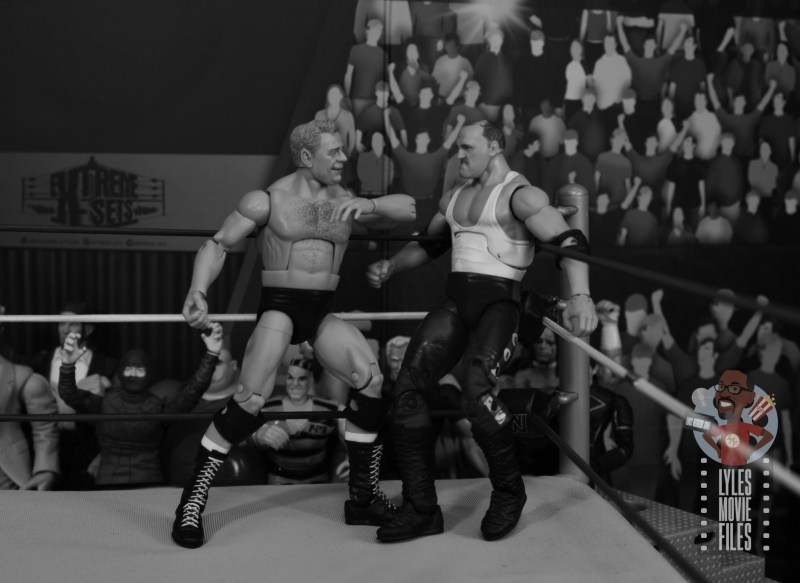 wwe elite pat patterson figure review -chopping sgt slaughter in the corner