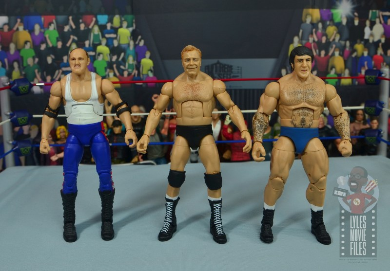wwe elite pat patterson figure review - scale with sgt slaughter and bruno sammartino