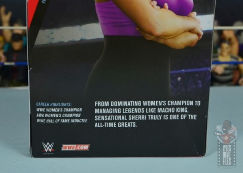 wwe elite sensational sherri figure review - package bio