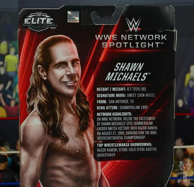 wwe network spotlight shawn michaels figure review - package bio