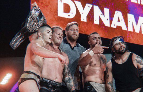 all elite wrestling dynamite - sammy, chris jericho, jake hager, santana and ortiz