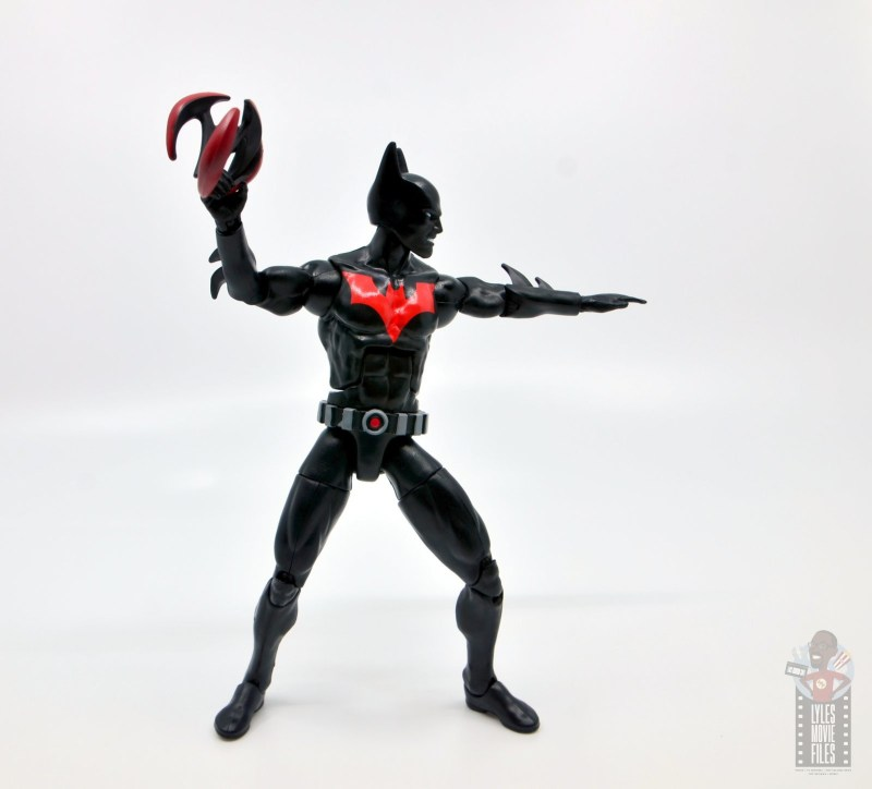 dc multiverse batman beyond figure review - with two batarangs