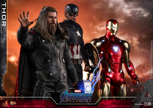 hot toys avengers endgame thor figure -reaching for stormbreaker next to cap and iron man
