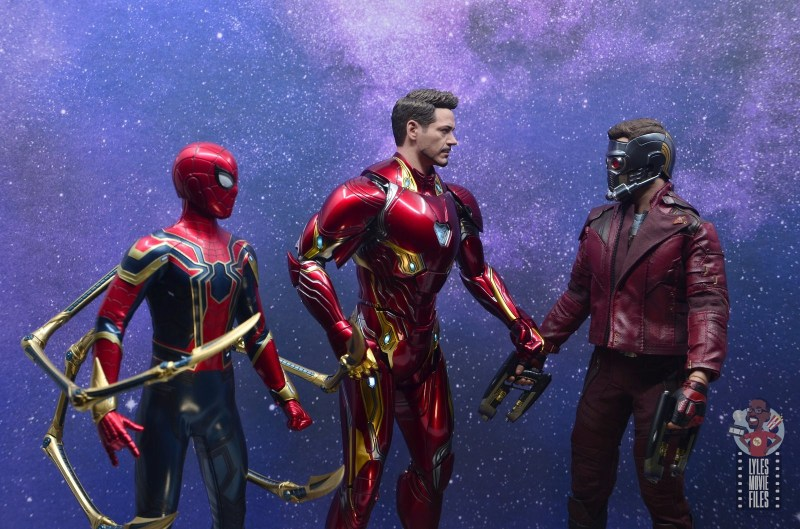 hot toys avengers infinity war iron man figure review - talking with iron-spider and star-lord